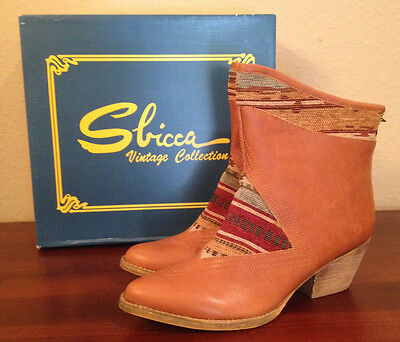 d969b882a105 NIB  150 Sbicca Sookies Tan Multi BACK ZIP WESTERN Boots Booties Womens 7  1 2