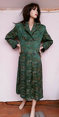 ViNtAgE 1980s green pictorial brocade Silk Chinese dressing gown robe coat sz 12