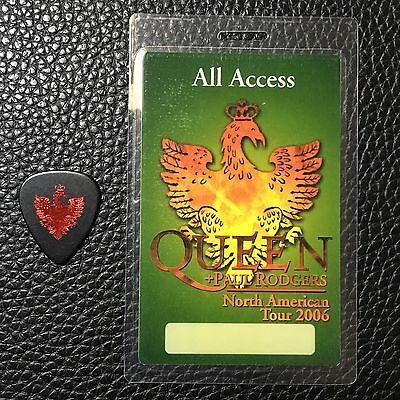 Queen - Brian May -  Rare 2006 Real Tour Guitar Pick & Backstage Pass