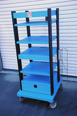 Endoscopy Cart, adjustable hospital/surgical cart with Drawer, power supply