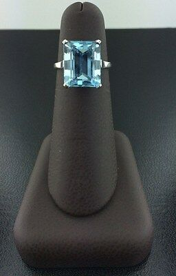 Lady's Vintage 14k white Gold Genuine 8.5 Carat Aquamarine Ring