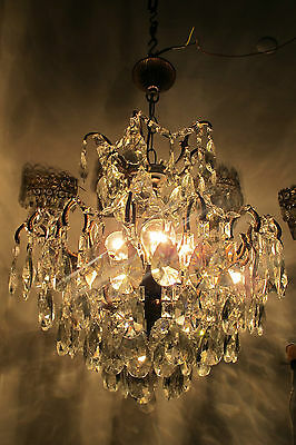 Antique Vnt French Big Spider Style Czech Crystal Chandelier 1940s 19in dmtr