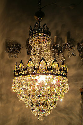 Antique VNT French Basket Style Crystal Chandelier Lamp light 1940s 14in diamter