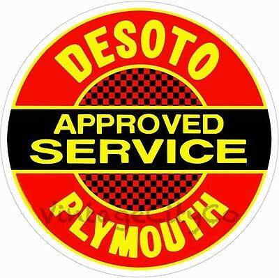 "Antique Style "" DeSoto / Plymouth Approved Service "" Advertising Metal Sign"