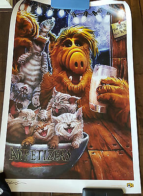 """2016 Sdcc Wondercon Exclusive Alf With Cats Large 24"""" X 36"""" Poster Mike Butkus"""