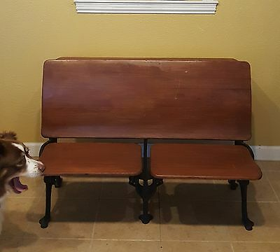 Antique SCHOOL DESK Cast Iron and Wood Desk & Seat for Two