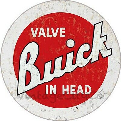 """Antique Style """" Buick Valve in Head - Red """" Advertising Metal Sign - Rusted"""