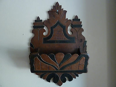Late 1800s Antique Victorian Hand Carved Mahogany Wood Wall Holder