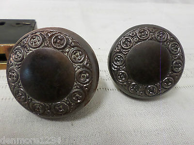 Vintage Antique Door Knob Set Metal Ornate Victorian With Lock Set