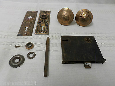 Vintage Antique Metal Door Knob Set Back Plates Lock Set Ornate Design Some Rust