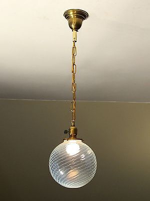 GORGEOUS! Antique Swirled Globe Light Fixture - Shade c. late 1800s - RESTORED!