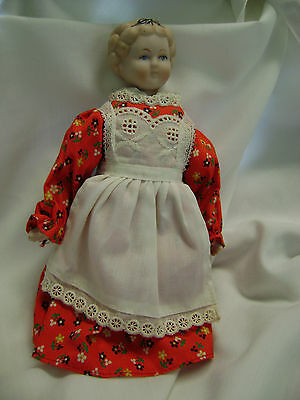 Reproduction Shackman Bisque Shoulder Plate Doll-Red/White Outfit-Paper Label