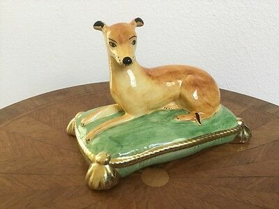 Beautiful Vintage Italian Majolica Whippet Greyhound Dog Figurine on Pillow