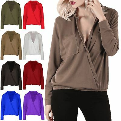 Ladies Oversized Full Sleeve Wrapped Over Womens Front Pocket Collared Neck Top