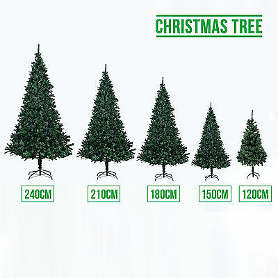 4/5/6/7/8FT Artificial PVC Christmas Tree Green Xmas Decorations W/ Metal Stand