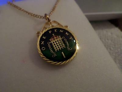 Vintage Enamelled One Penny Coin Pendant & Necklace 1999. 18Th Birthday Gift
