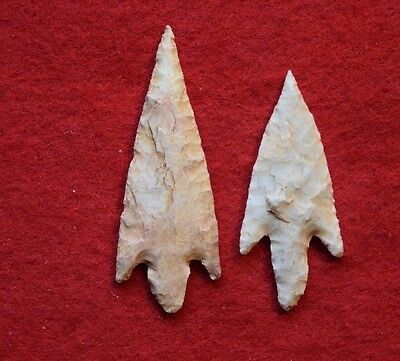 2 fine, large Sahara Neolithic Stemmed form projectile points