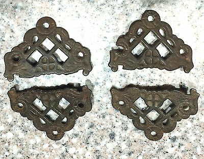 Lot of 4 Iron Screen Door Corner Covers  or Picture Frame Corner Brackets* 1800s