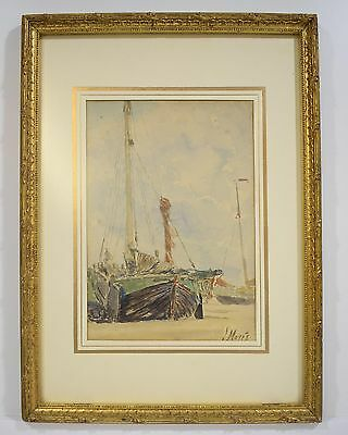 WATERCOLOUR - BEACHED BOATS - SIGNED J. MARIS - 19th CENTURY