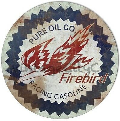 "Antique Style "" Pure Oil Co. - Firebird Racing Gasoline "" Metal Sign - Rusted"