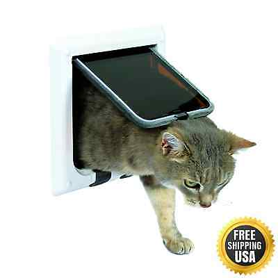 Trixie Pet Products 4-Way Locking Cat Door with Tunnel, X-Large, White New XMAS