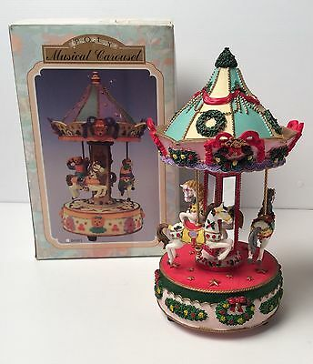 RARE / VINTAGE Horse Poly Christmas Musical Carousel 1997