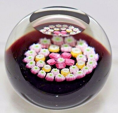 Charming CAITHNESS Concentric FACETED Millefiori ROSE Art Glass PAPERWEIGHT