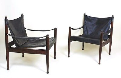 Mid Century Danish Modern Rosewood and Leather Safari chair by Erik Worts • £885.00