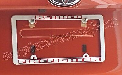thin style reflective retired firefighter fire fighter red license plate frame