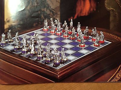 VINTAGE CHESS SET FRANKLIN MINT BATTLE OF WATERLOO PEWTER +ORIG BOARD 1987 Xmas