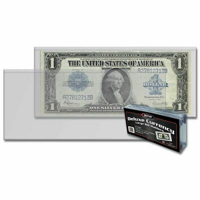 50 LARGE Currency Semi Rigid Holder Banknote Toploader BCW 9MIL US Bill Topload