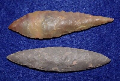2  nice LARGE Sahara Neolithic Ovate  projectile points G10's
