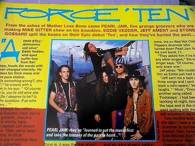 Pearl Jam Early Ten Release Article Single Page from British Kerrang Magazine A4