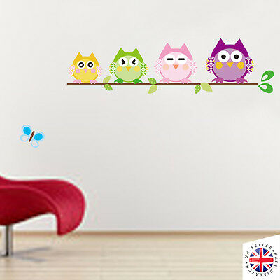WALL Sticker Art Bedroom Nursery Animals Boys Girls Kids Baby Children Owl Birds