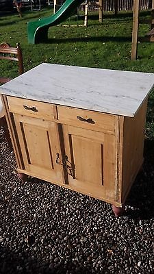 French Pine Cupboard / Sideboard With Marble Top Del Avail