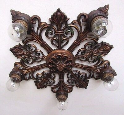 GORGEOUS! Antique MOE BRIDGES Flush Mount Light Fixture - Completely Restored!