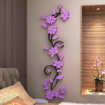 Super 3D Purple Flower Wall Sticker Removable PVC Home decor Decal Room