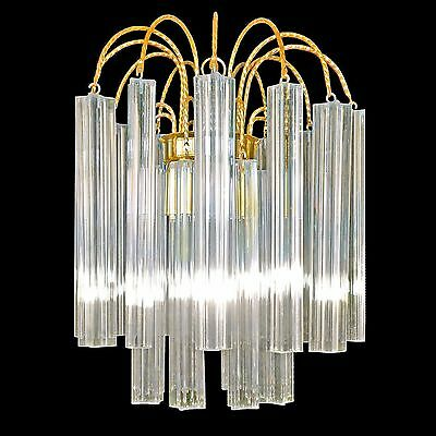 Vintage Italian Murano 20 Crystal Glass Prism Chandelier/Venini Era Ceiling Lamp