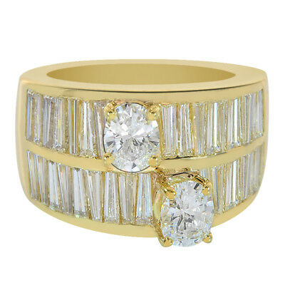 4.25 Carat Oval and Baguette Double Ring 18K Yellow Gold