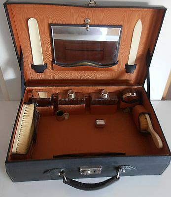 French Antique Week-End Case/Original Bottles & Fittings -Travel Collectibles