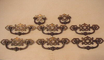 6 Vintage Large Ornate Draw Pull Handle & 2 smaller ones all in nice condition