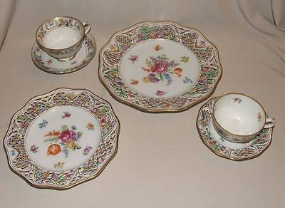 6 pc Schumann CHATEAU DRESDEN FLOWERS Bavaria Reticulated Cups Saucers Plates