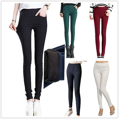 New Womens Winter Thick Warm Thermal Full Length Leggings Trousers Size 6-14