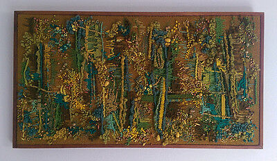 """Vintage Mid Century* wall hanging*needlepoint*signed """"After The Rain"""" spiderweb*"""