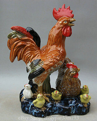 """15"""" Chinese Folk Pottery porcelain Rooster Cock Family Animal Statue Sculpture"""