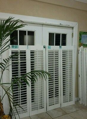 Vintage solid wood interior louver plantation window - Unfinished interior wood shutters ...