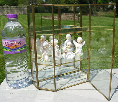 Glass Brass Mirror Wall Hang Curio Display Cabinet Case Shelves Mexico Small Old
