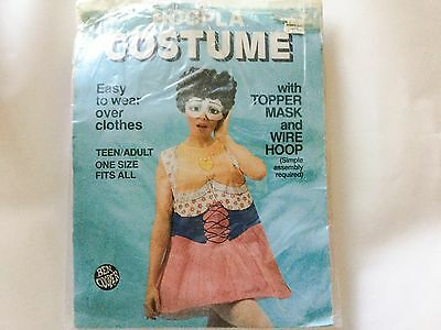 Vintage Ben Cooper 1986 Busty Housewife Hoopla Costume with Topper Mask and Hoop