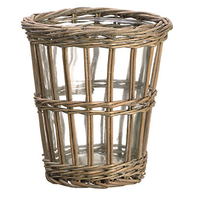 """8.2""""Hx7.5""""W Willow Basket w/Glass Vase -Gray (pack of 4)"""