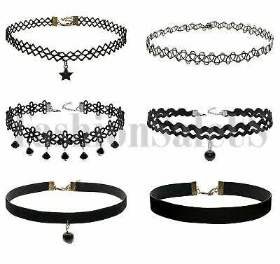 6pcs Women's Vintage Gothic Black Lace Choker Collar Retro Punk Tattoo Necklace